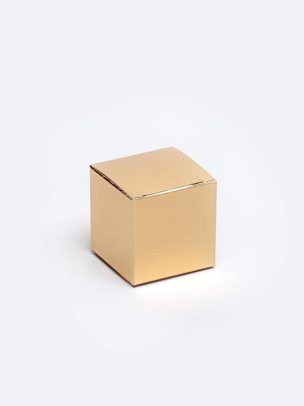 Gouden kubus in karton om zelf te vullen