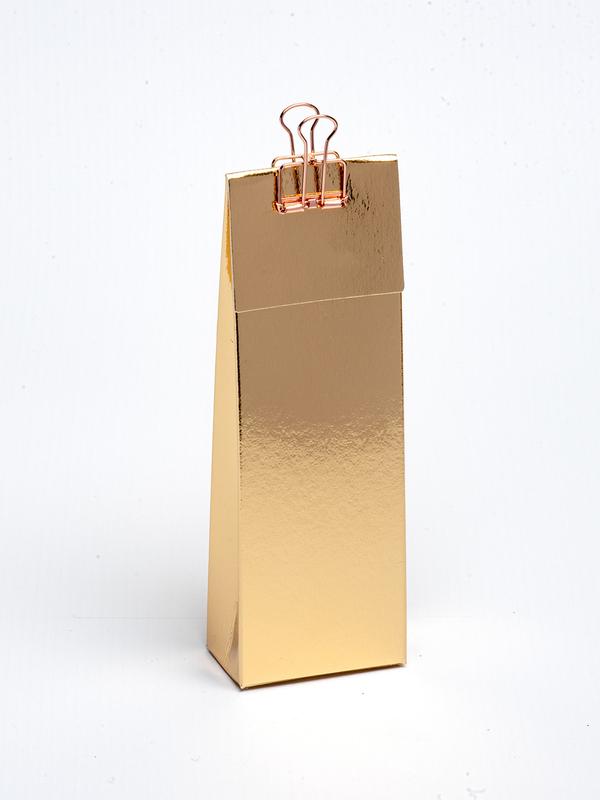 Gouden hoog tasje met klep om zelf te vullen