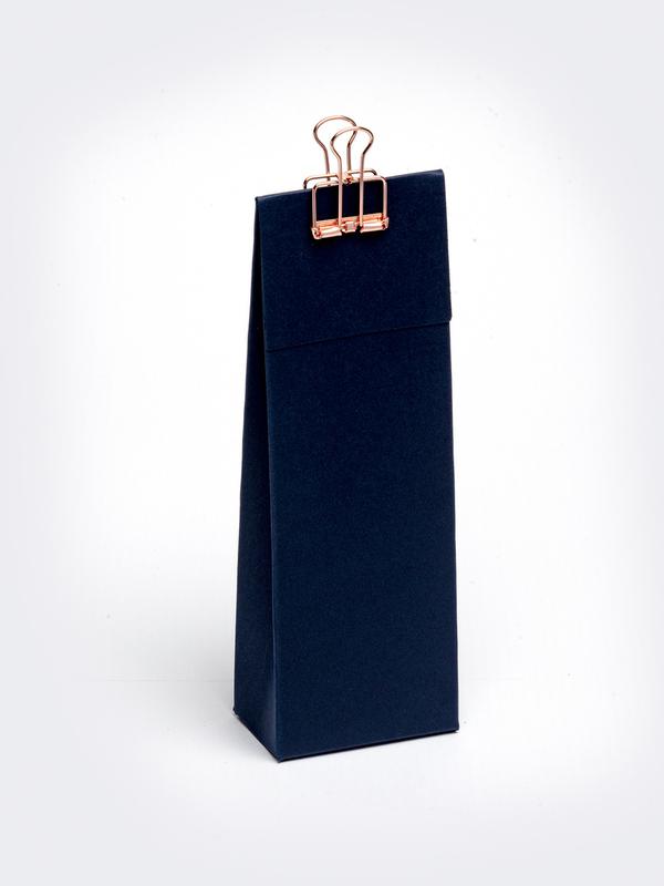 Marine blauw hoog tasje met klep om zelf te vullen